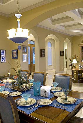 p-4CaneHarbor0917--PHOTO BY EDDIE SEAL/SPECIAL TO THE CALLER TIMES--The dining area at the Burkett's home on Cane Harbor Bay Dr.  (9/11/06 es)